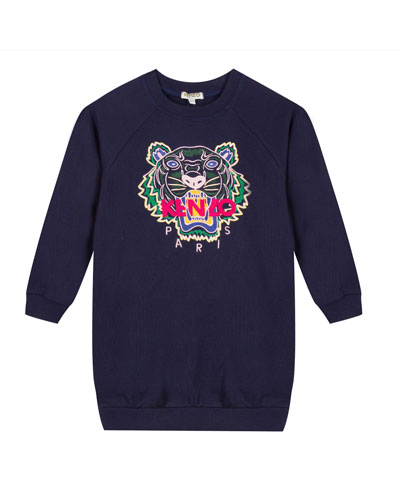 Tiger Embroidered Sweatshirt Dress, Size 8-12