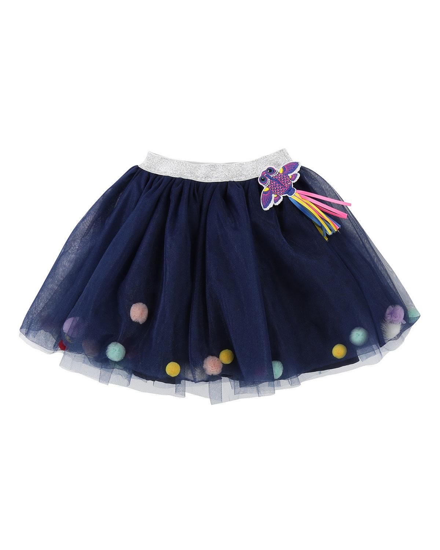 Tulle Pompoms Skirt, Size 4-8