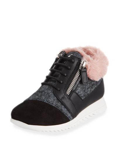Mixed Material Faux Fur-Trim Sneakers, Toddler/Kids