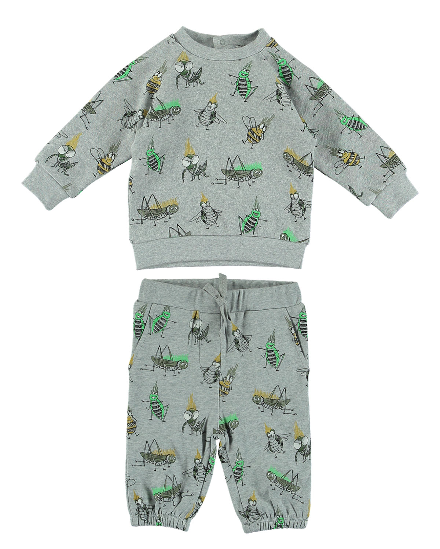 Cartoon Bug-Print Sweatshirt w/ Matching Sweatpants, Size 6-36 Months