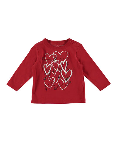 Smiling Hearts Cartoon Long-Sleeve Tee, Size 12-36 Months