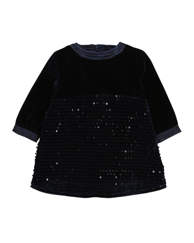 Velvet & Sequin Long-Sleeve Dress, Size 12-18 Months