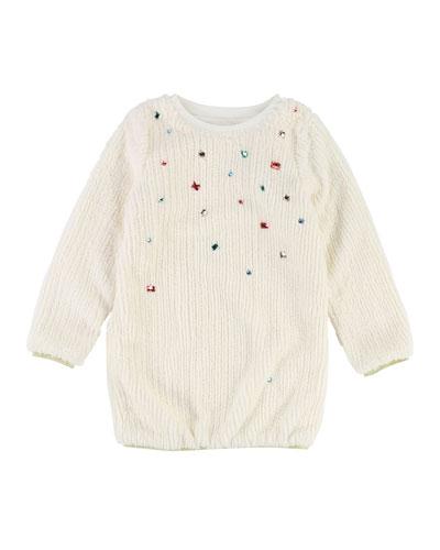 Long-Sleeve Fuzzy Knit Dress w/ Gem Trim, Size 4-8