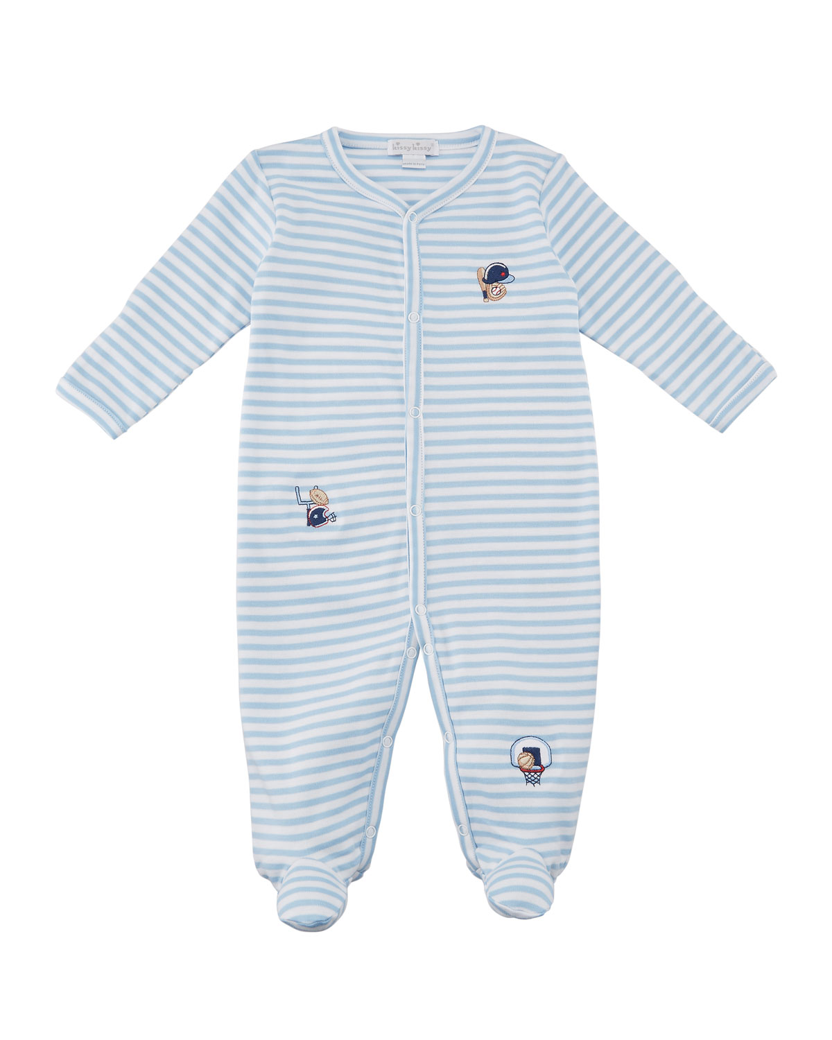 Fall Sports Striped Embroidered Footie Playsuit, Size Newborn-9M