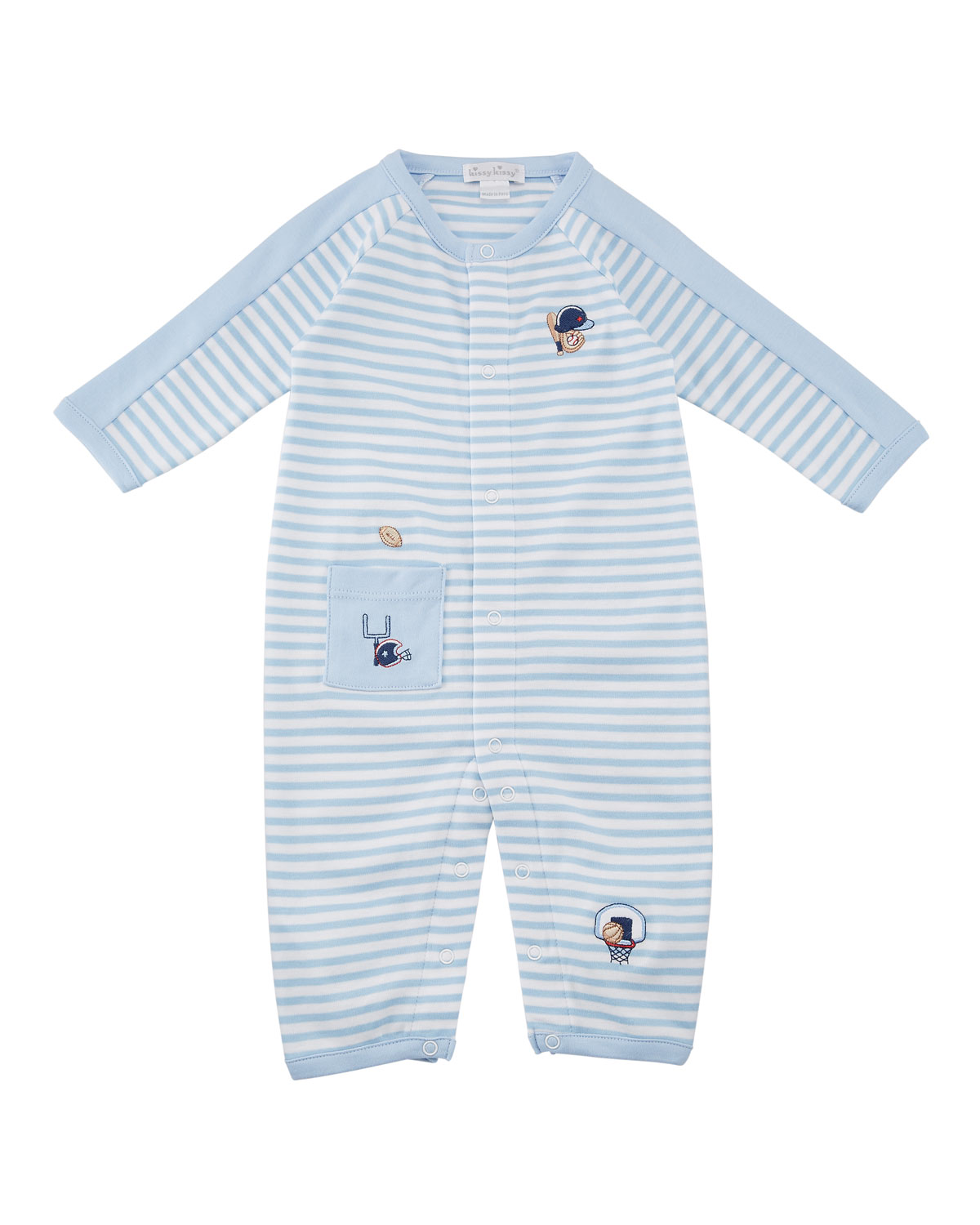 Fall Sports Striped Embroidered Coverall, Size 3-24 Months