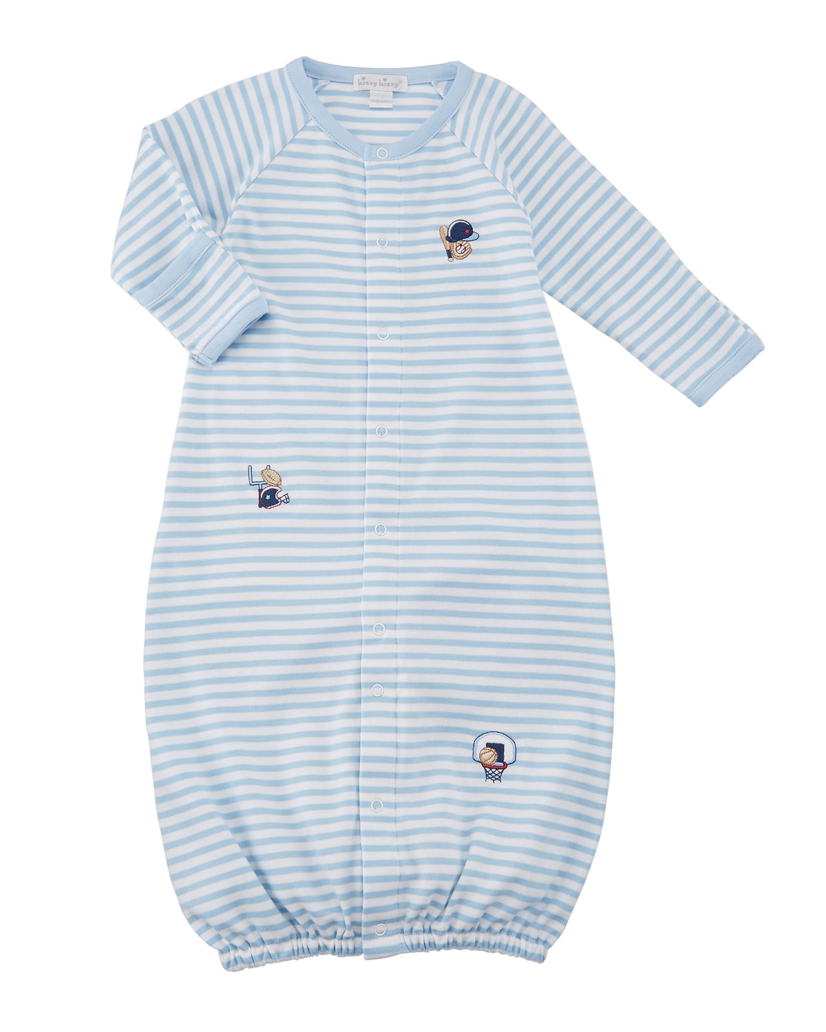 Fall Sports Striped Convertible Gown, Size Newborn-S