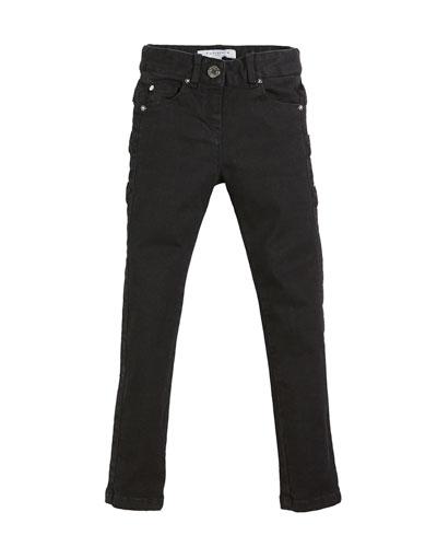 Slim-Fit Leather-Trim Denim Pants, Size 12-14