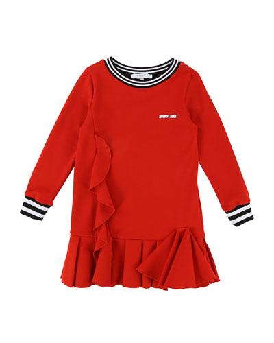 Milano Long-Sleeve Ruffle-Trim Dress, Size 12-14