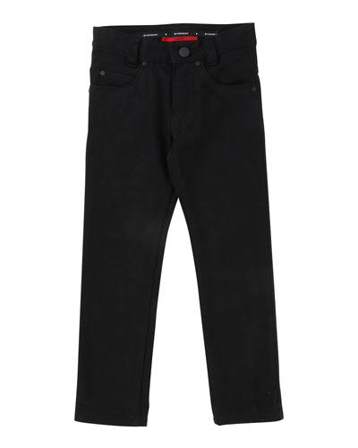 Denim Pants w/ Back Leatherette Pocket, Size 12-14