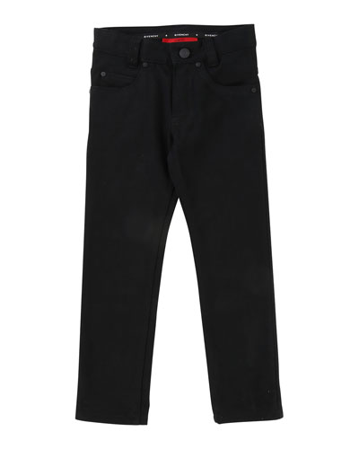 Denim Pants w/ Back Leatherette Pocket, Size 6-10