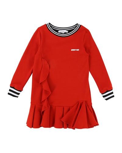 Milano Long-Sleeve Ruffle-Trim Dress, Size 6-10