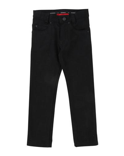 Denim Pants w/ Back Leatherette Pocket, Size 4-5