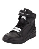Givenchy Leather High-Top Grip-Strap Sneakers, Kids
