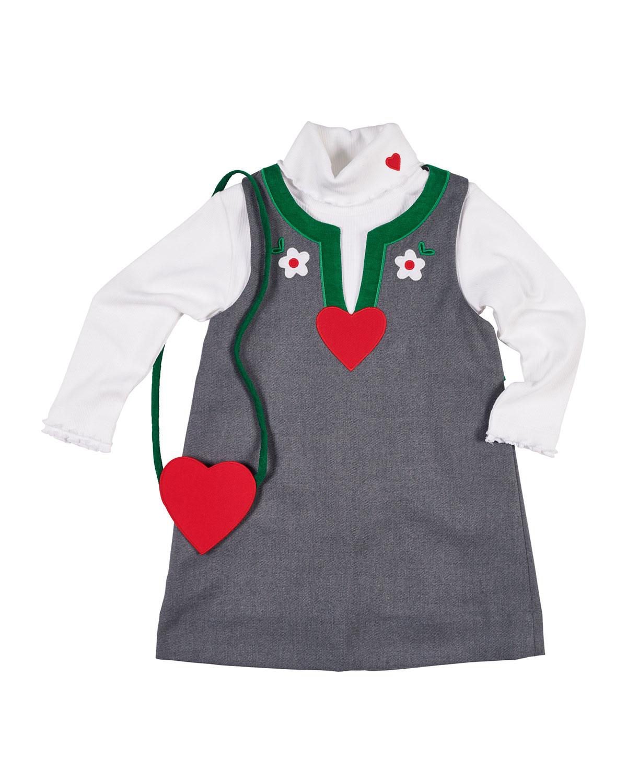 Split-Neck Jumper, Turtleneck Top & Heart Crossbody Bag, Size 2-6X