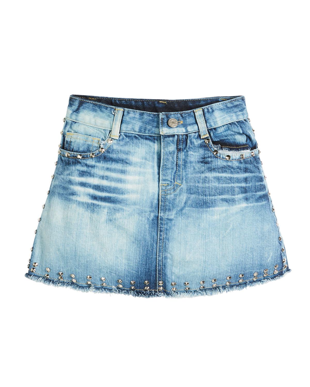 Faded Raw-Hem Studded Denim Skirt, Size S-XL