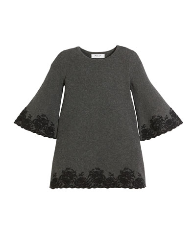 Embroidered Lace Bell-Sleeve Dress, Size 4-7