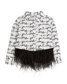 Milly Minis Je t'Aime Ostrich Feather Button-Up Blouse,