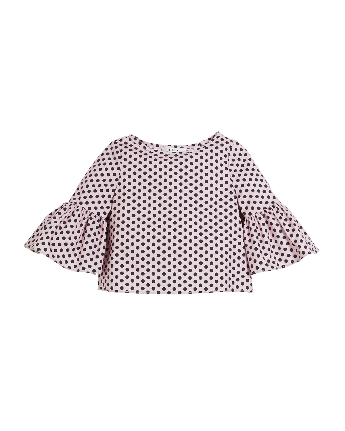 Polka-Dot Ruffle-Sleeve Cotton Blouse, Size 8-16