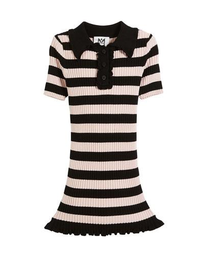 Ribbed Striped Ruffle-Trim Polo Dress, Size 8-14