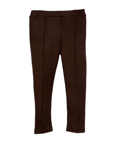 Faux-Suede Pintucked Leggings, Size 3-7