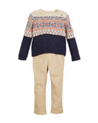 Mayoral Fair Isle Knit Sweater w/ Twill Pants,
