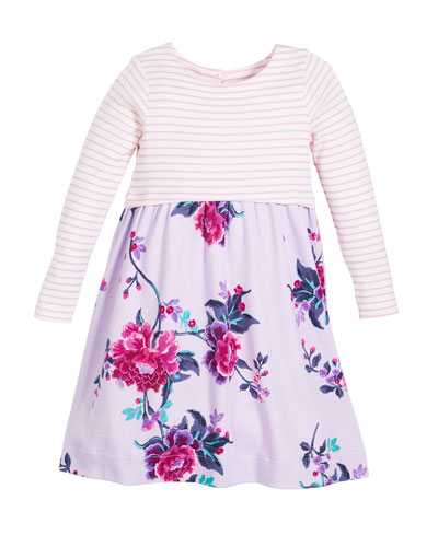 Striped & Floral Long-Sleeve Cotton Dress, Size 2-6