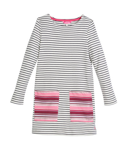 Long-Sleeve Stripe Cotton Shift Dress, Size 3-10