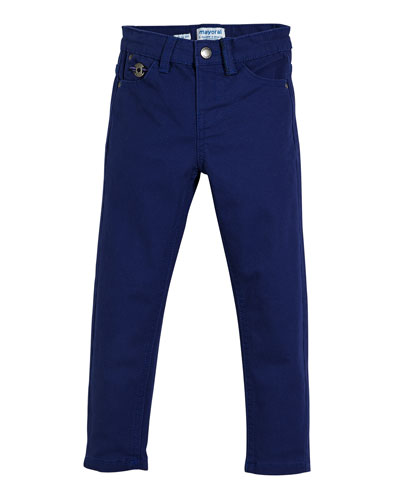 Stretch Twill Straight-Leg Trousers, Size 3-7