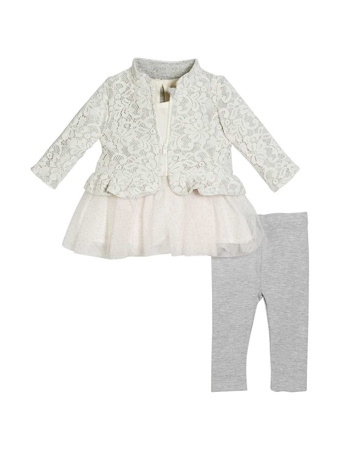 Lace Jacket, Skirted Top & Knit Leggings, Size 3-24 Months
