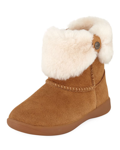 Ramona Suede Boot w/ Shearling Cuff, Toddler