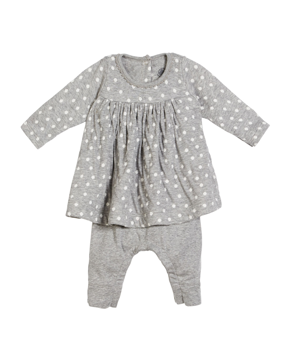 Polka-Dot Dress w/ Attached Leggings, Size 1-12 Months