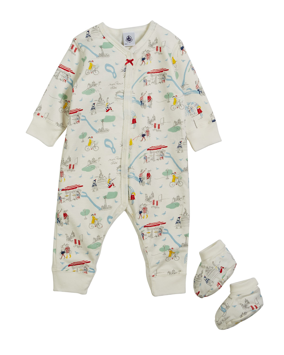 Paris-Print Coverall w/ Booties, Size 1-6 Months