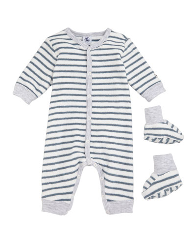 Trapeze Striped Terry Romper with Booties, Baby Boy Size 1-6 Months