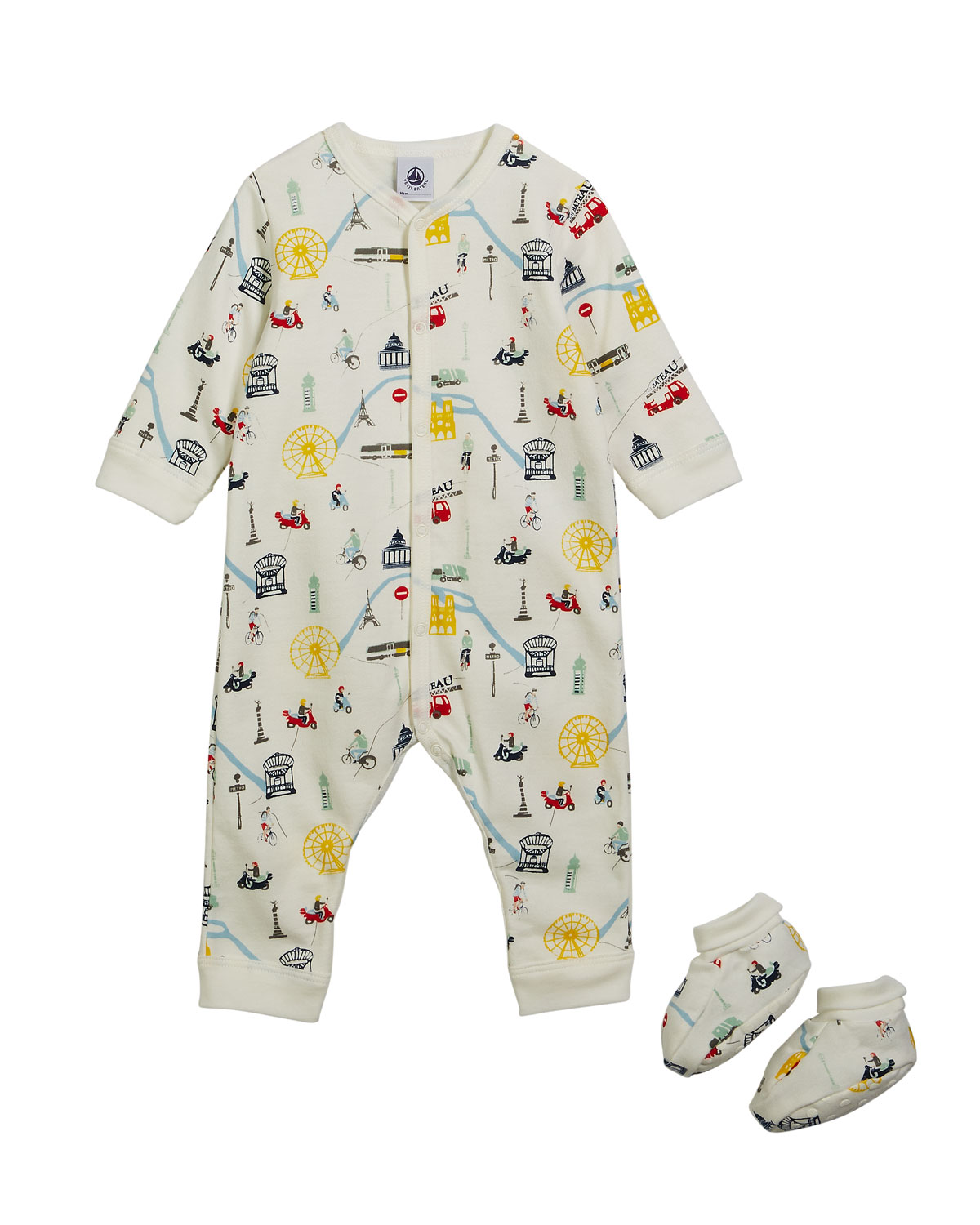 Transportation-Print Coverall w/ Booties, Size 1-6 Months