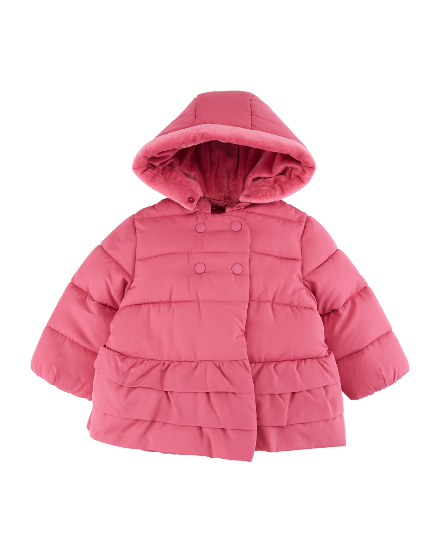 Ruffle-Hem Hooded Puffer Coat, Size 4-12 Months