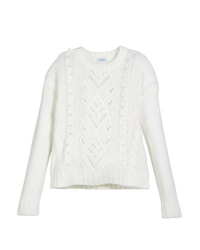 Rhinestone-Trim Cable-Knit Sweater, Size 8-16