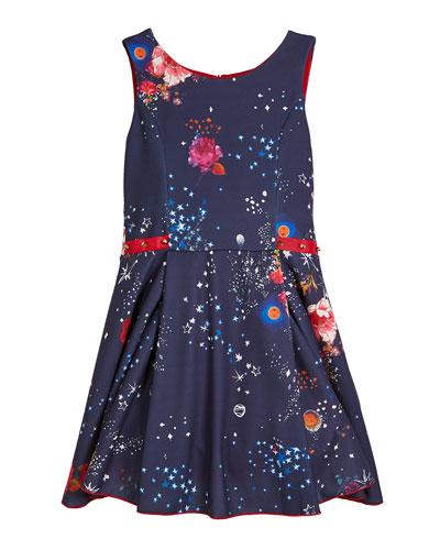 Celestial Floral & Stars Swing Dress w/ Studded Ribbon Detail, Size 7-16