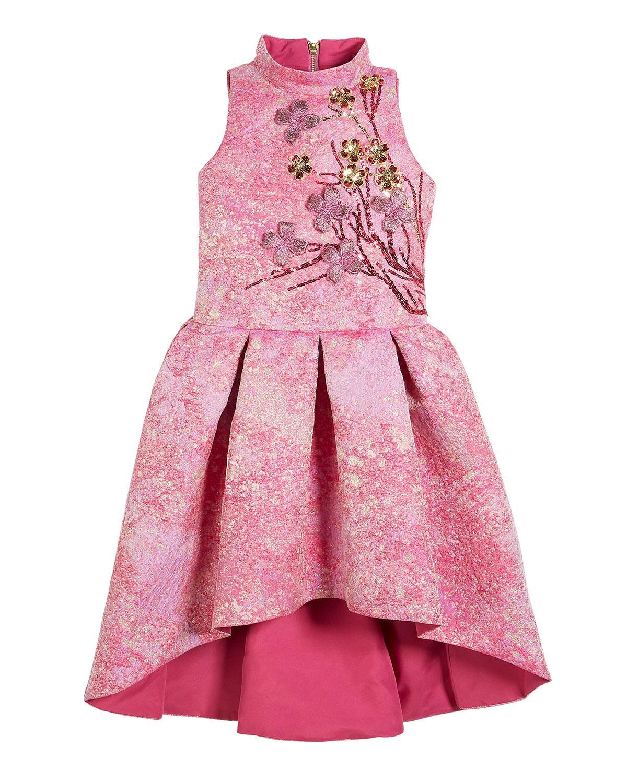 Morgan Metallic High-Low Dress w/ 3D Floral Applique, Size 4-6X