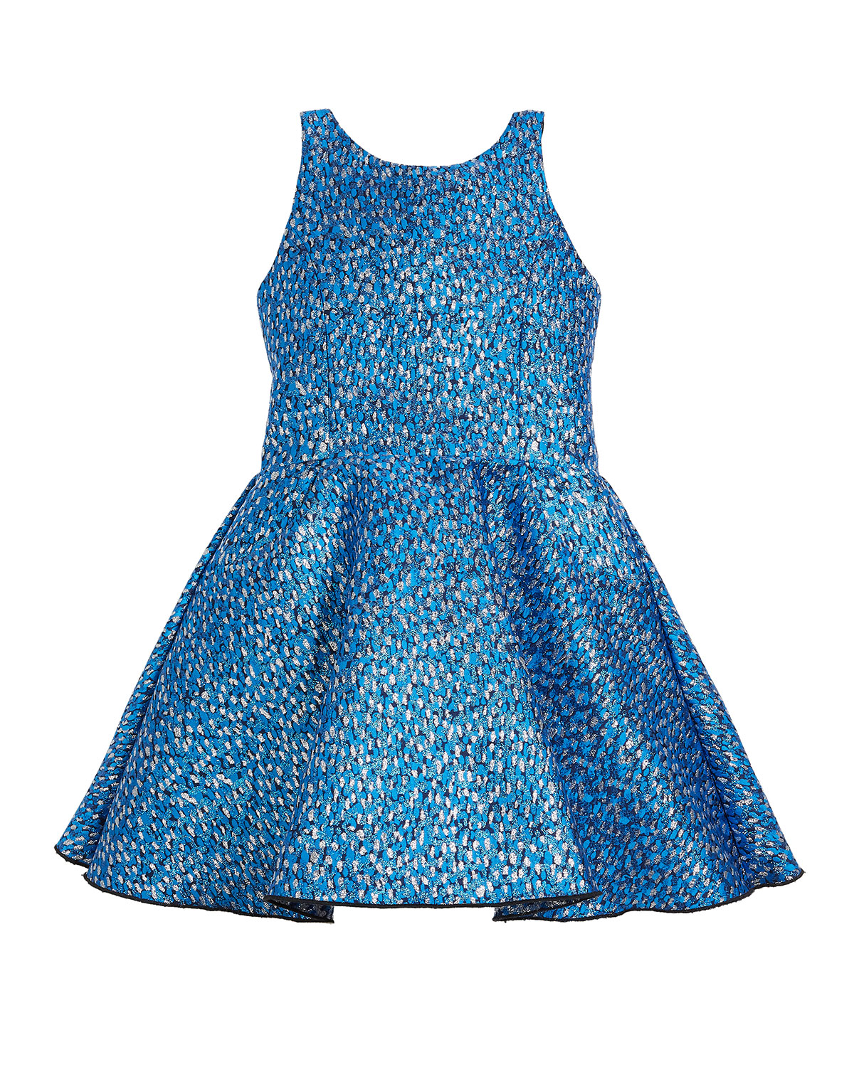 Rea Abstract Brocade T-Back Swing Dress, Size 7-16