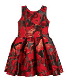 Zoe Abstract Floral Jacquard Party Dress, Size 4-6X