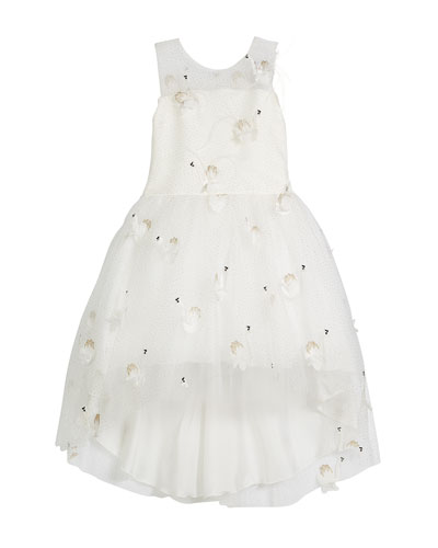 Swan Embroidered Mesh High-Low Party Dress, Size 4-6X
