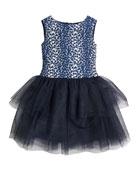 Charabia Daisy Tulle-Skirt Sleeveless Dress, Size 2-8