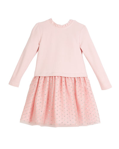 Long-Sleeve Knit Top Dress w/ Tulle Skirt, Size 2-8