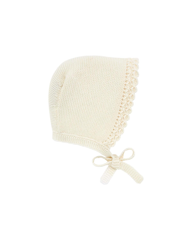 Knit Scalloped-Trim Baby Bonnet