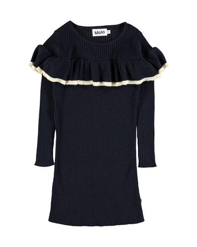 Celise Ruffle-Trim Long-Sleeve Rib Knit Dress, Size 3T-14