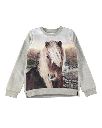 Marlee Long-Sleeve Horse-Print Sweatshirt, Size 3-10