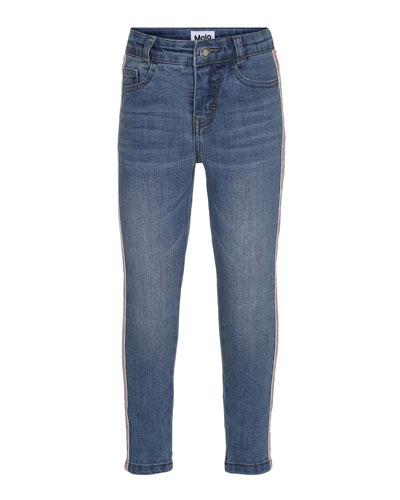 Anastasia Straight-Leg Denim Jeans w/ Contrast Sides, Size 3-14