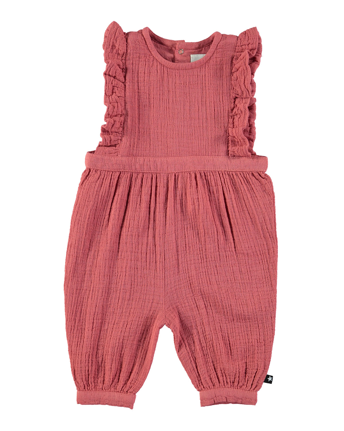 Fabia Ruffle-Trim Cotton Overalls, Size 3-18 Months