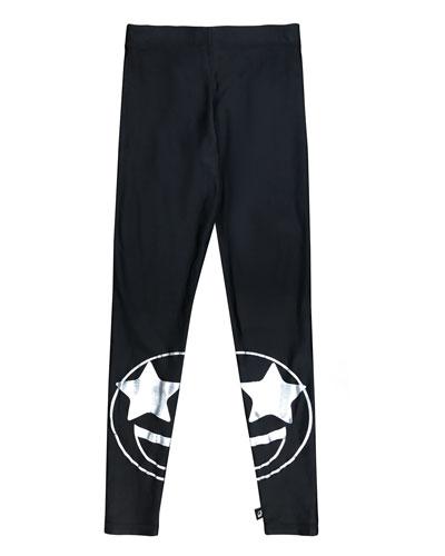 Split Star Eye Foil-Print Leggings, Size 7-16