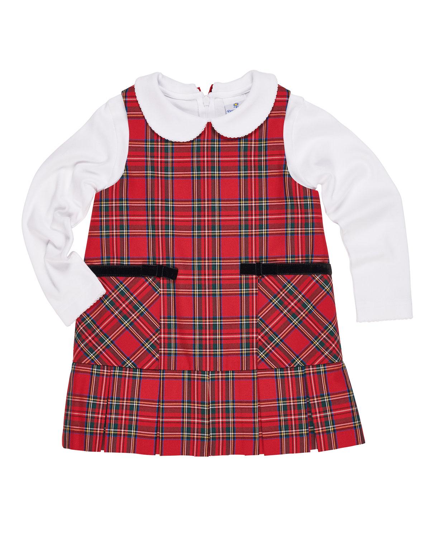Tartan Plaid Jumper w/ Peter Pan-Collar Top, Size 9-24 Months